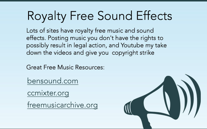 Lots of sites have royalty free music and sound effects. Posting music you don't have the rights to possibly result in legal action, and Youtube my take down the videos and give you  copyright strike  Great Free Music Resources: