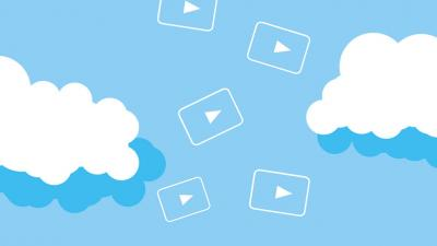 Image of clouds with youtube play symbols between them