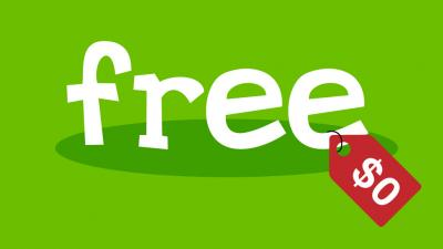 "Image of the word ""free"" with a red zero dollar price tag"