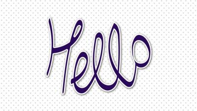 "Image of the word ""hello"" in purple text"