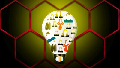 Image of a lightbulb superimposed over a honeycomb background