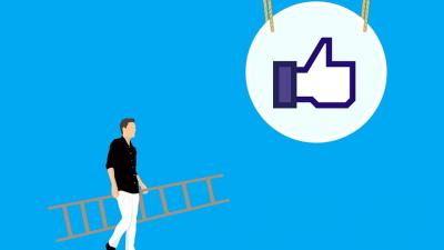 "Image of a man with a ladder and a facebook ""like""button suspended from the ceiling"